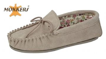 Ladies Real Suede Leather Moccasin with Hard-wearing Sole  STONE